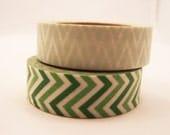 Japanese Zig Zag Pattern Washi Tape - Shades of Green Masking Tape 15mm- set of 2