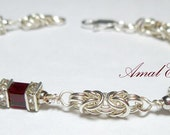 Swarovski Crystal bracelet with Sterling Silver Chainmaille