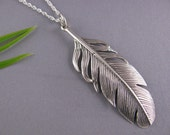 Feather Necklace, Sterling Silver Feather necklace - high detail feather on Sterling Silver Italy Rope Chain, Most popular Item for Feather