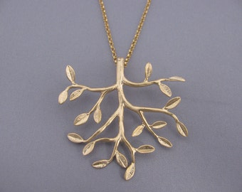 Gold Tree Necklace . Gold Necklace . Anniversary gift,  Tree of life necklace. tree jewelry. tree of life pendant