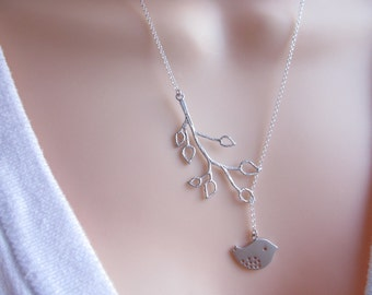 STERLING SILVER Lariat Bird and Branch Necklace -  Bird Lariat - Bird Necklace