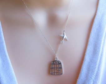 Bird Cage Necklace, Sterling Silver chain and Bird , Be Free Bird Necklace, Silver Birdcage necklace, Sparrow Necklace, Lost  loved one