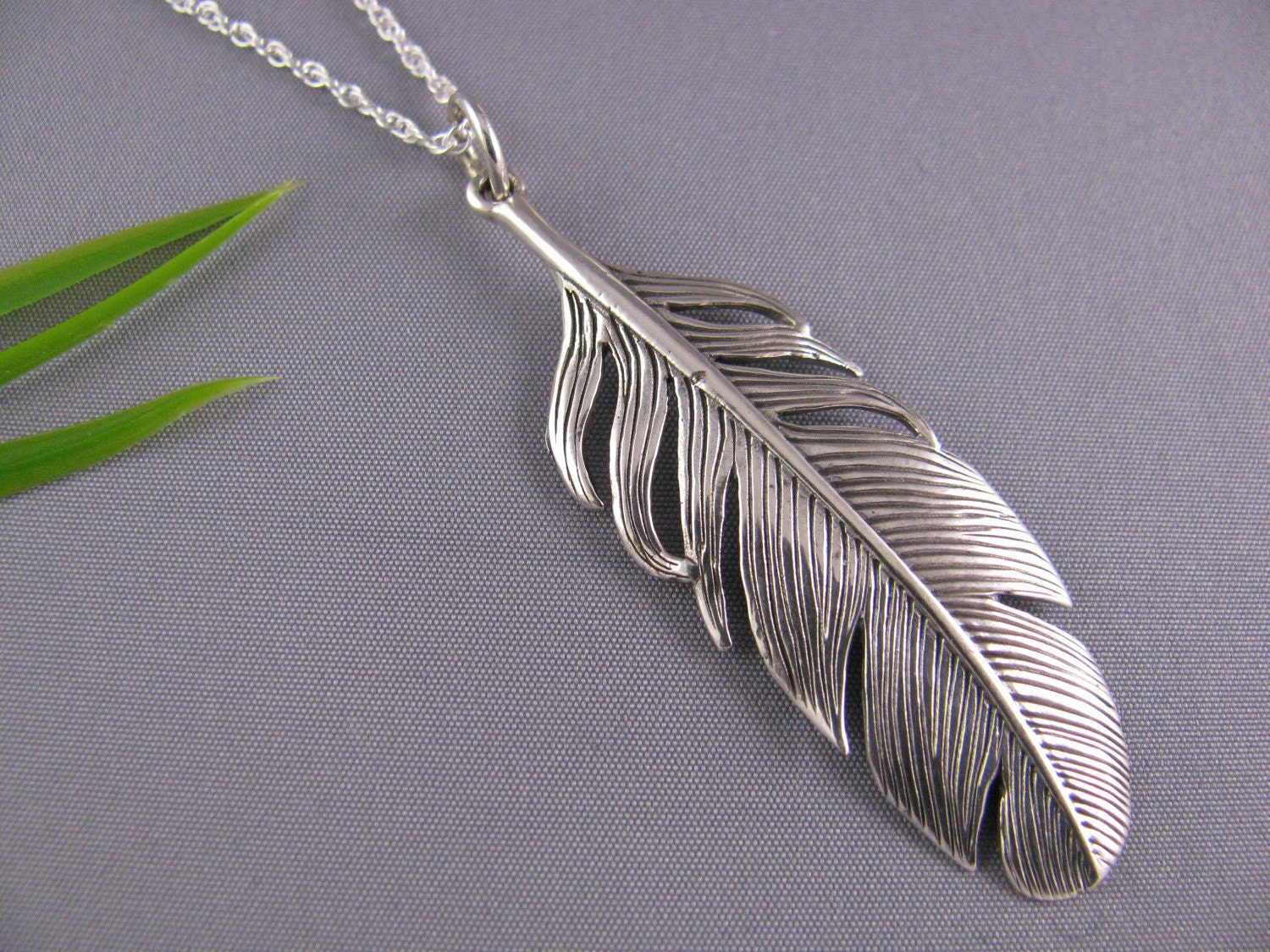 sterling silver feather necklace feather necklace on by