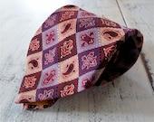 Vintage Mens Tie Orange Pink Burgundy and Purple