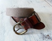 Vintage Belt, Brown Leather Ends and Heavy Cotton Knit