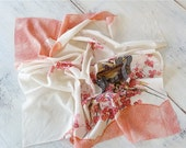 Vintage Silk Scarf Pink and White Cherry Blossoms Oriental Print