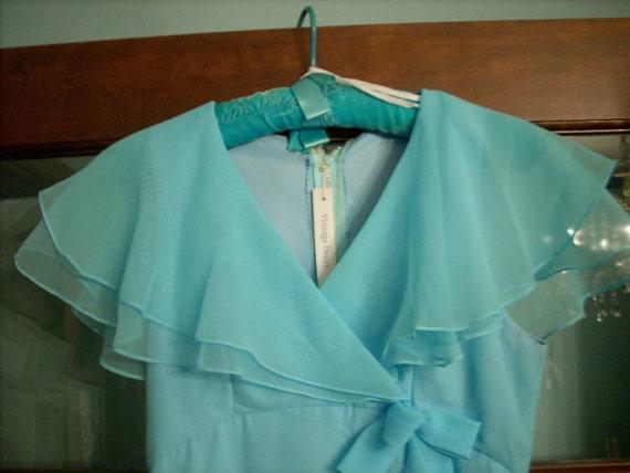 NEW PRICE--Retro Aqua Chiffon Empire Waist, Ruffly Long Dress