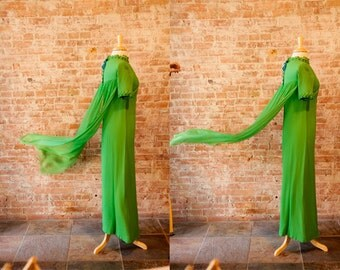 Vintage 1960s Green Sheer Long Prom Dress - Formal Dress 60s