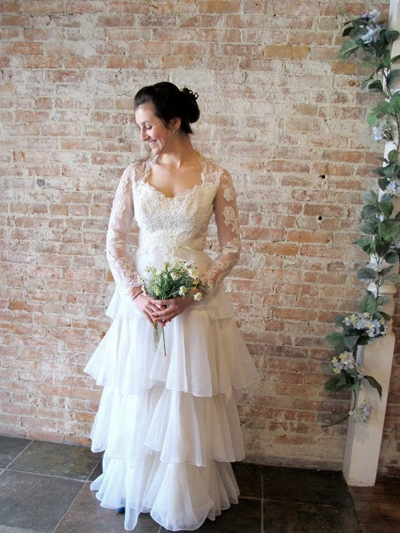 Vintage 1960s Lace Tiered Wedding Dress