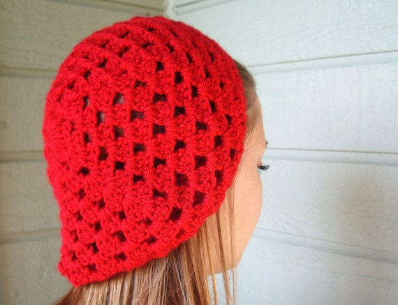 Reserved for Vi - Slouchy Beanie in Fire Engine Red with Shell Stitch
