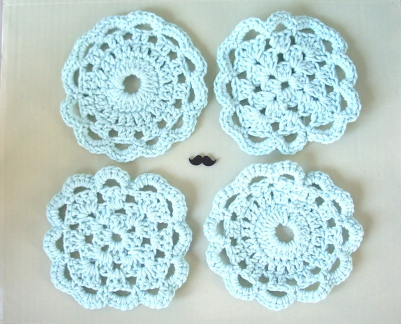 Blue Doily Coasters - Kitchen Coasters in Pale Sky Blue