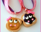 BFF PB&J Peanut Butter and Jelly Best Friends Ribbon Necklace Set