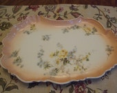 Limoge Vintage Dresser Plate Peach gold trim blue daisies and yellow roses