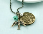 Bird Locket Necklace - Solo -  Antiqued Brass Vintage Inspired