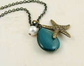 Caribbean Starfish Necklace, Antiqued Brass Vintage Inspired