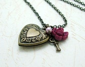 Key and Heart Locket Necklace, Antiqued Brass Vintage Inspired Jewelry, Rose, Key to my Heart Necklace