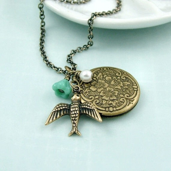 Bird Locket Necklace - Solo -  Antiqued Brass Vintage Inspired