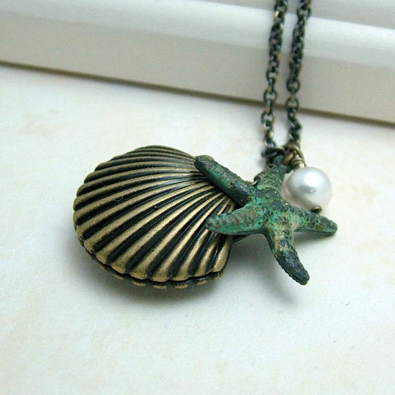 Ocean Trinkets Starfish Locket Necklace, Shell and Pearl, Antiqued Brass Vintage Inspired