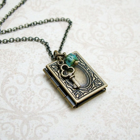 Memoirs Book Locket Necklace in Antiqued Brass, Vintage Inspired Jewelry