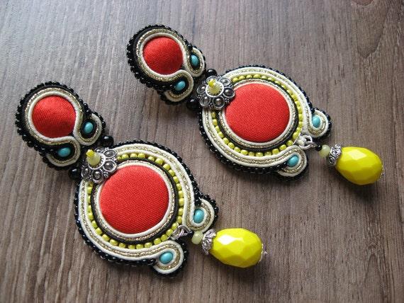 Soutache Earrings in red