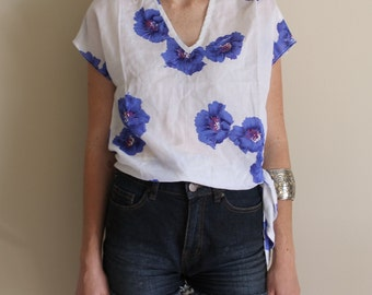 Vintage Breezy Floral blouse with Side Tie from Sauci California (80s)