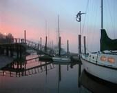 Nautical Sunrise Photo 8x10 Fine Art Photograph - reflection print Misty foggy mermaid weathervane peach pink baby blue follow me