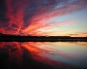 Orange Red Sunset Photo 8x10 Fine Art Photograph - black calm water blue cyan yellow green sky