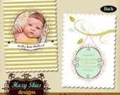 INSTANT DOWNLOAD 5x7 Digital Photo Card Template - Birth Announcement or Multi Use
