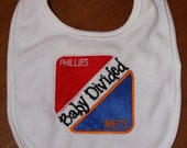 Baby Divided Phillies and Mets appliqued bib