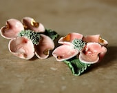 Dusty Pink DOGWOOD Blossom - Vintage Clip EARRINGS - 1930s