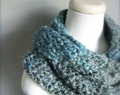 Crochet Smokey Blue Grey Teal Turquoise Handmade Infinity Scarf, Women's Scarf, Men's Scarf, Unisex Scarf
