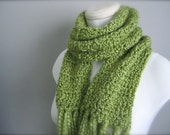 Crochet St. Patrick's Day Spring Green, Light Green, Yellow Green, Chartreuse Classic Fringe Scarf, Women's Scarf, Men's Scarf, Unisex Scarf