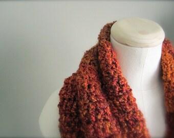 Crochet Fiery Rusty Red Orange Handmade Infinity Scarf, Women's Scarf, Men's Scarf, Unisex Scarf
