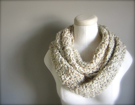 Crochet Tan, Cream, Beige , Off White, Ivory Infinity Scarf, Women's Scarf, Men's Scarf, Unisex Scarf