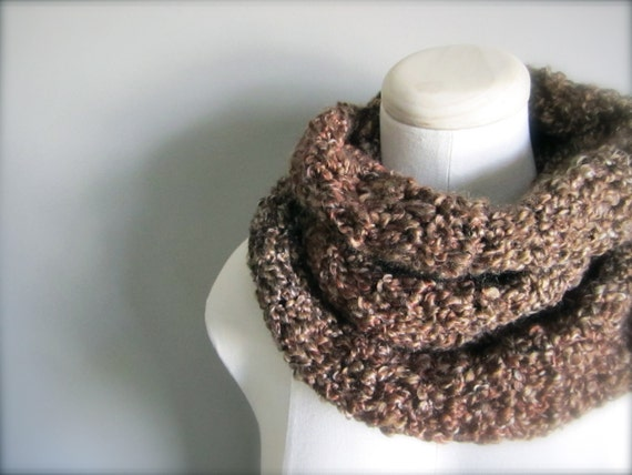 Crochet Milk Chocolate Brown Earth Tone Handmade Infinity Scarf, Women's Scarf, Men's Scarf, Unisex Scarf