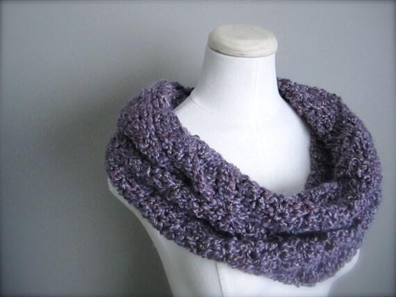 Crochet Lavender Light Purple Lilac Handmade Infinity Scarf, Women's Scarf, Men's Scarf, Unisex Scarf