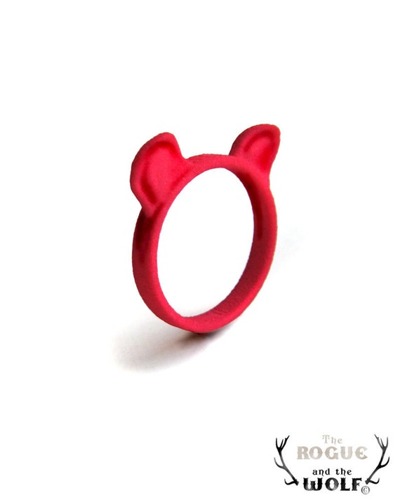 Red Bear Ring, Grizzly Bear Ears Ring, cute Kawaii ring, animal ring, bear jewellery, for the cute girlfriend, gift for the bear lover