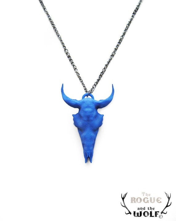 Blue Bison Skull Necklace, funky pendant, cool jewelry, cool animal pendant, buffalo skull, animal skull jewelry