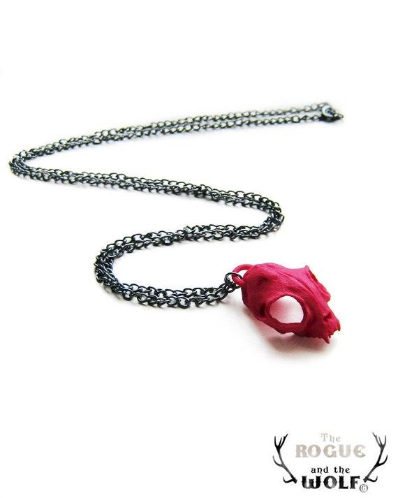 Red Cat Skull Necklace, cat skull pendant, modern animal necklace, blue skull, cool jewelry, animal skull, animal jewellery, whimsical