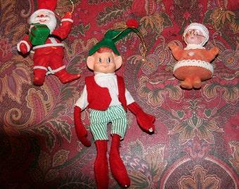 Vintage Christmas Ornaments - Red Flocked Santa Claus, Mrs Santa and an Elf