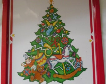 Vintage Tin Christmas Tray - The Magic Tree designed by Meg Woolf - Willitts Designs 1986