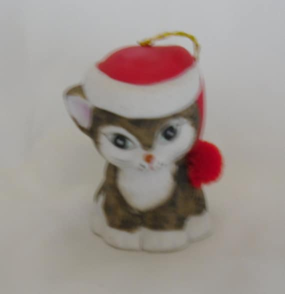 Vintage Christmas Bell - Jasco Lil Chimers Cat Bell - Handpainted Bisque Porcelain Bell