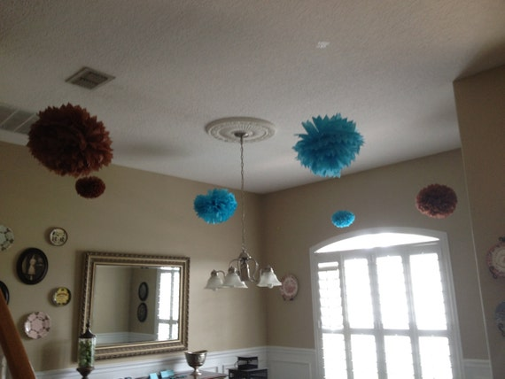 25 poms/ Baby Shower/ Brown and Blue Theme/ Nursery/ Wedding/ Birthday