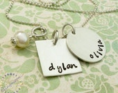 hand stamped necklace . square charm .  personalized mother daughter blingmoon