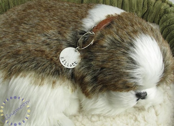 Personalized Pet Tag . Hand stamped pet id tag . Dog ID Tag . Dog Name Tag. Pet ID Tag . Pet Name Tag . Cat Name Tag Silver Pet Tag