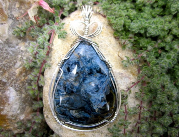 "Large Blue Pietersite ""Tempest"" Stone Sterling Silver Wire Wrapped Pendant"