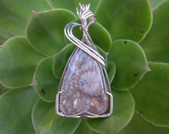 Fossil Coral Stone Sterling Silver Wire Wrapped Pendant