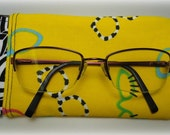 6-inch Eyeglass Pouch, Flex Frame Pouch, yellow with black and white trim - Ready To Ship