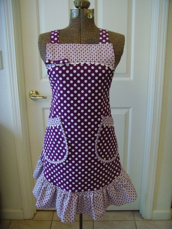 Apron- Reversible Ruffle White Polka Dots on Purple Background and Purple and White Coordinating Floral Print