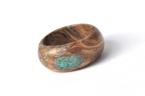 Wood Bracelet Olivewood and Eilat Stone/Turquoise